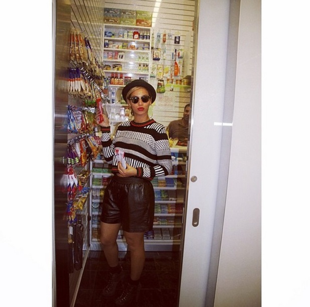Beyonce poses in a sweet shop in a selfie posted to Instagram on 30 April 2014