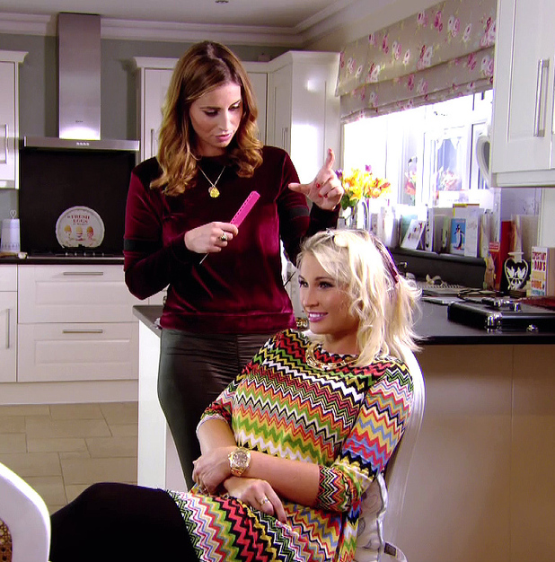 Ferne is seen dying Billie's hair while talking about Frank Major on 'The Only Way Is Essex', shown on ITV2 HD, 10 March 2014