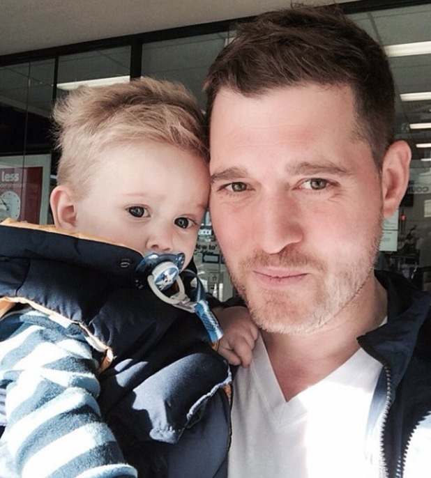Michael Bublé and Noah pose for a selfie in Melbourne, Australia, during Michael's MB World Tour - 1 May 2014