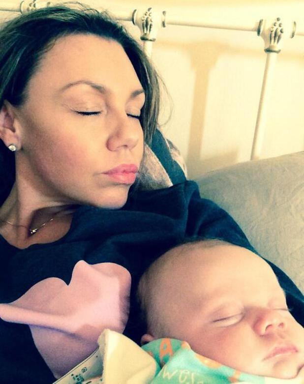 Michelle Heaton shares a new selfie of baby son AJ sleeping on her chest - 28 April 2014