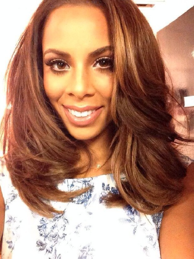 The Saturdays' Rochelle Humes shows off new shoulder-length hair before filming Sweat The Small Stuff - 25 April 2014