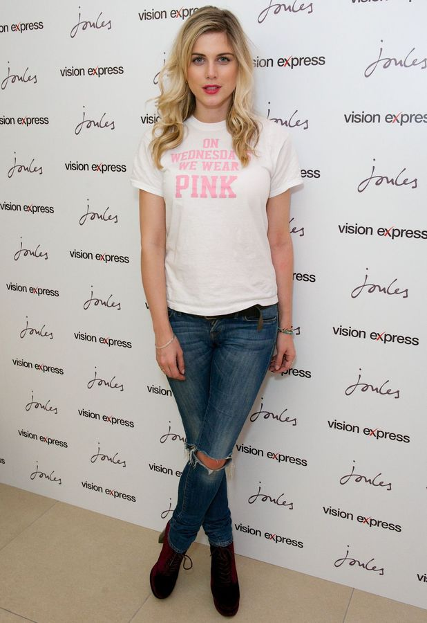 Former Made In Chelsea star Ashley James wears a Mean Girls T-shirt while attending the Joules and Vision Express Eyewear Collection launch in London, England - 30 April 2014