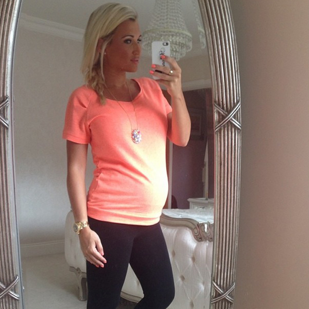 Pregnant Billie Faiers takes a selfie in front of her bedroom mirror, 26 April 2014