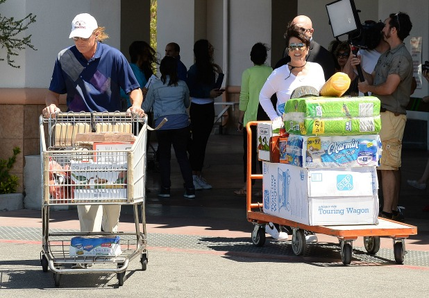 Kris Jenner and Bruce Jenner at Costco, 'Keeping Up With The Kardashians' on set filming, Los Angeles, America - 29 Apr 2014