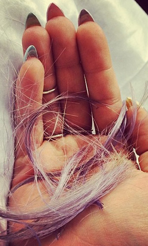 Kelly Osbourne with lock of hair on Instagram on 1 May 2014