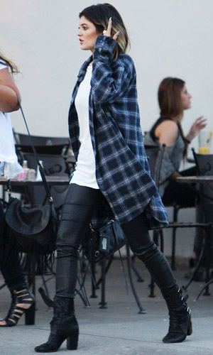Kylie Jenner in check shirt on 28 April 2014