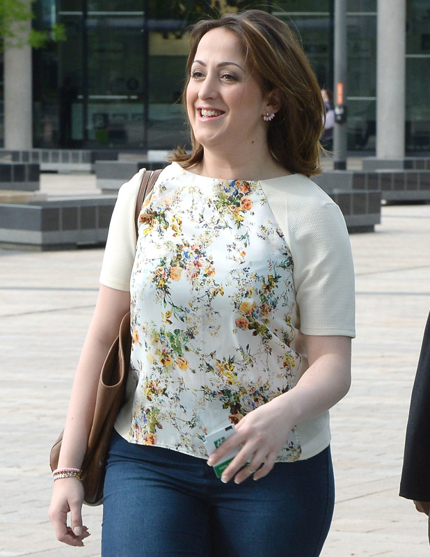 Natalie Cassidy leaves the BBC Breakfast studios at Media City Manchester after appearing on the show, 2 May 2014