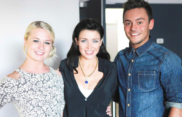 Tom Daley and Sophie Lee pose with Dannii Minogue during fourth episode of Tom Daley Goes Global, airs 1 May 2014