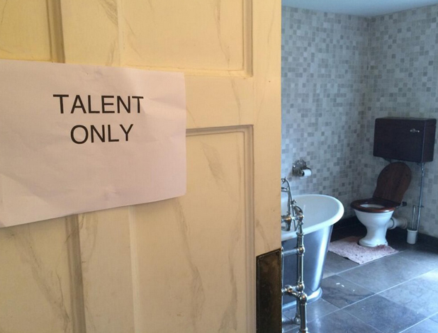 Victoria Beckham loves her 'talent only' sign in toilet, 1 May 2014