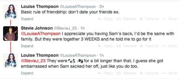 Louise Thompson picks a fight with Stevie Johnson on Twitter - 6 May 2014