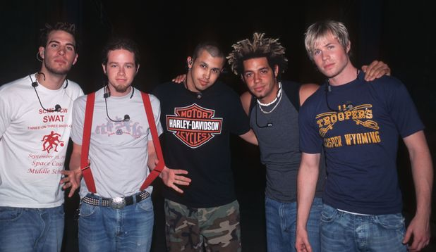 O Town pictured at the Kings Dominion Amusement Park, Virginia in 2000. Featuring: Ashley Parker Angel, Dan Miller, Jacob Underwood, Eric Michael Estrada and Trevor Penick.