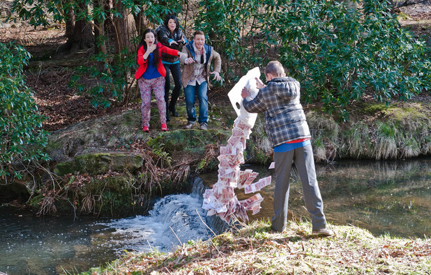 Emmerdale, Jacob pours the money in the river, Thu 8 May