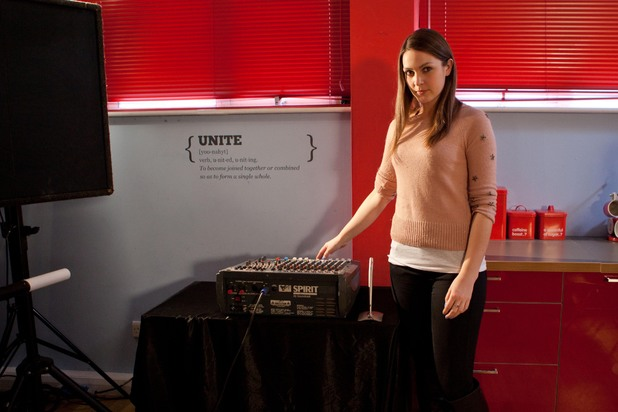 Hollyoaks, Sienna messes with the sound board, Tue 13 May