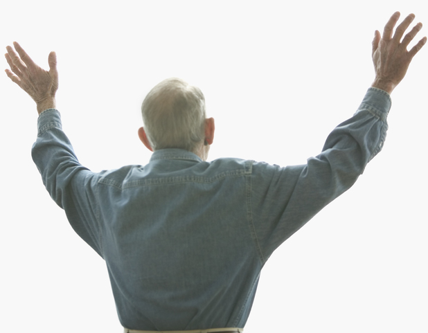 Elderly man with arms stretched out