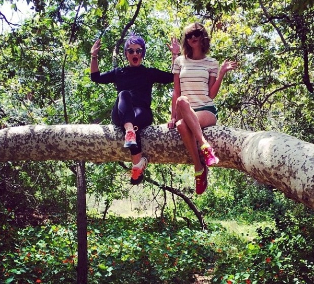 Kelly Osbourne and Taylor Swift sit on tree trunk in park in California (8 May).