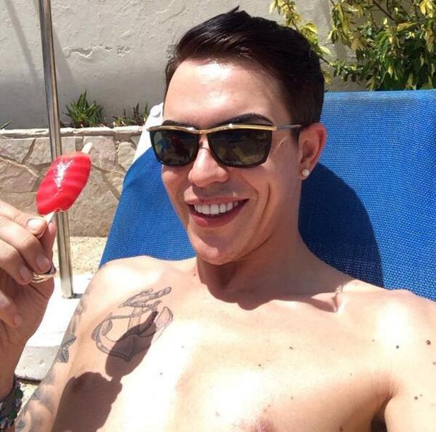 Bobby Norris suns himself in Spain during holiday with Harry Derbidge - 8 May 2014