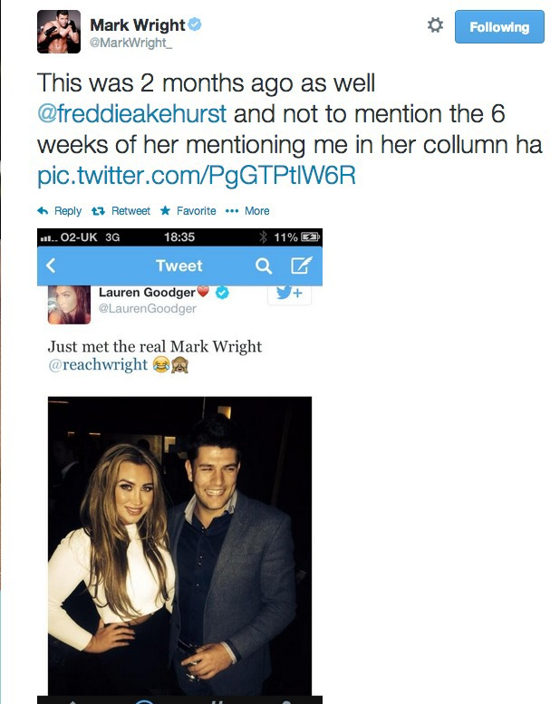 Mark Wright hits out at Lauren after she posts photo with another man 6.5.14