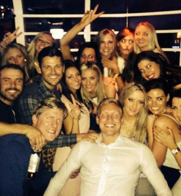 Mark and Jessica Wright, Michelle Keegan and Ricky Rayment celebrate Alix Wright's birthday at Faces, Essex, 4 May 2014