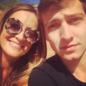 Made In Chelsea's Fran Newman-Young and Sam Thompson pose for selfie. (15 May).