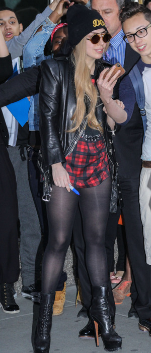 Lady Gaga wears a tiny tartan dress while out in New York, America - 13 May 2014