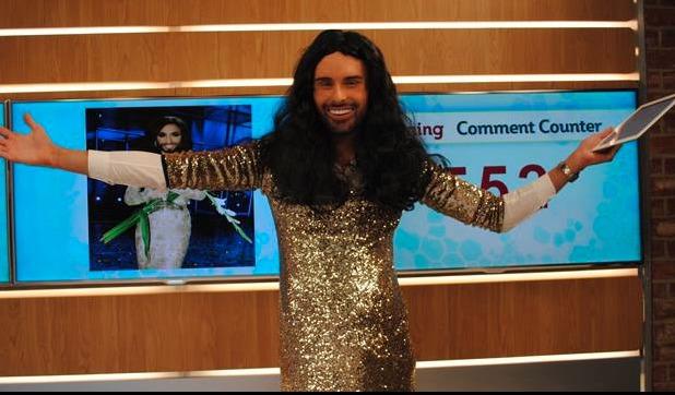 Rylan Clark dresses as Eurovision winner Conchita Wurst on This Morning - 16 May