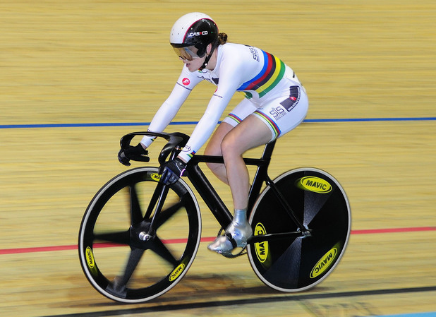 Olympic cycling champion Victoria Pendleton wins the women's sprint at the Manchester Velodrome to become British champion in her first competitive outing since Beijing. 09/17/2008 Manchester, United Kingdom