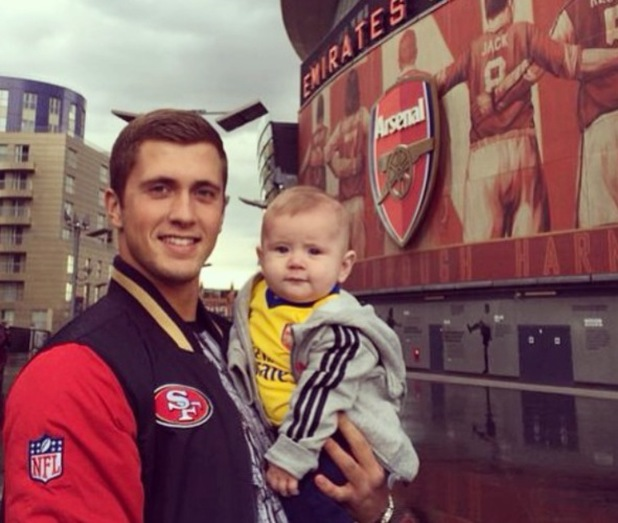 TOWIE's Dan Osborne takes son Teddy to the Emirates Stadium (12 May).