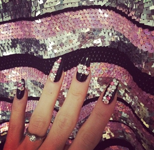 Lily Allen's latest deep purple, bejewelled manicure, 14 May 2014