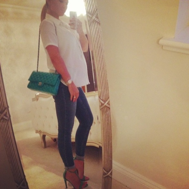Pregnant Billie Faiers shows off her baby bump in chic blouse and jeans for date night - 15 May 2014
