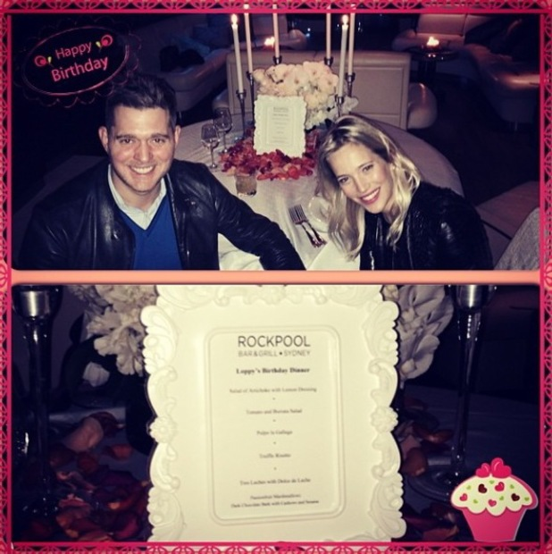 Luisana Lopilato and Michael Buble enjoy a birthday meal for L at Rockpool in Sydney, Australia. 16 May 2014