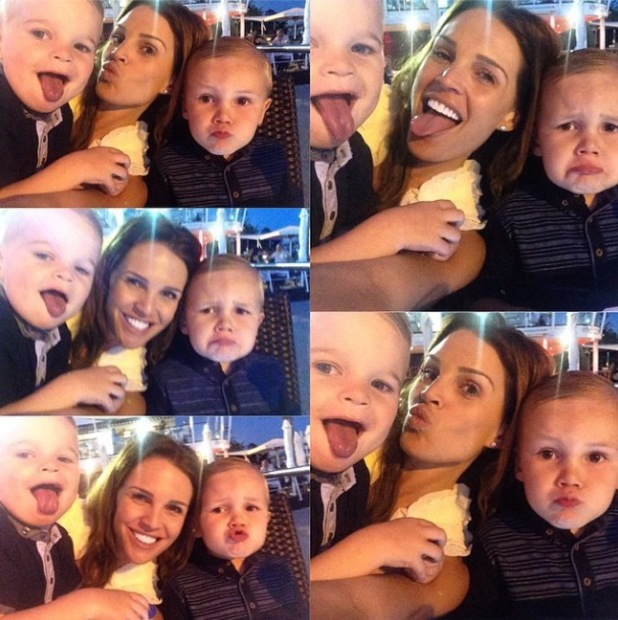 Danielle Lloyd shares selfies of herself and Archie and Harry while on holiday - 15 May 2014
