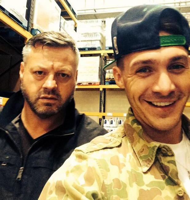 TOWIE's Kirk Norcross and Mick Norcross pose for a selfie while out shopping, and Mick isn't impressed - 12 May 2014