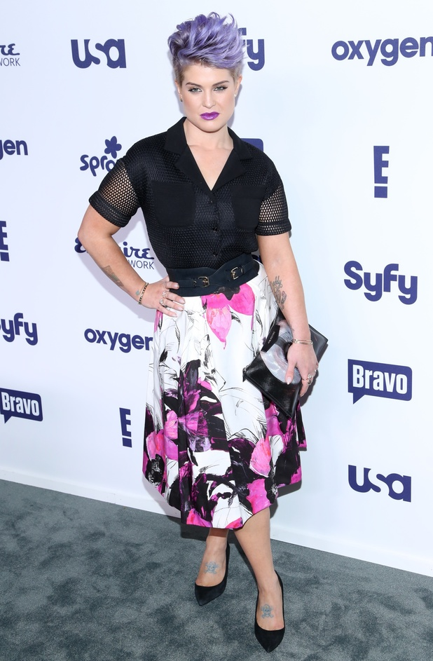 Kelly Osbourne pairs her purple hair with violet lipstick at the NBC Universal Upfront event in New York, America - 15 May 2014