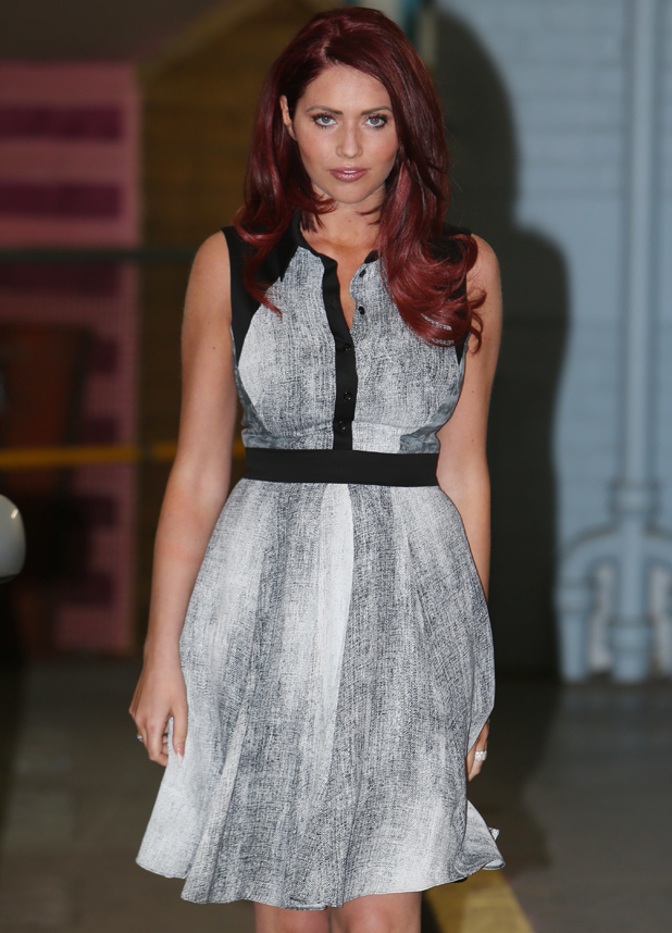 Amy Childs outside the ITV studios in London, 13 May 2014