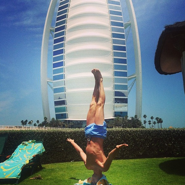 Billi Mucklow jokes that boyfriend Andy Carroll can't sunbathe normally, Dubai, 16 May 2014