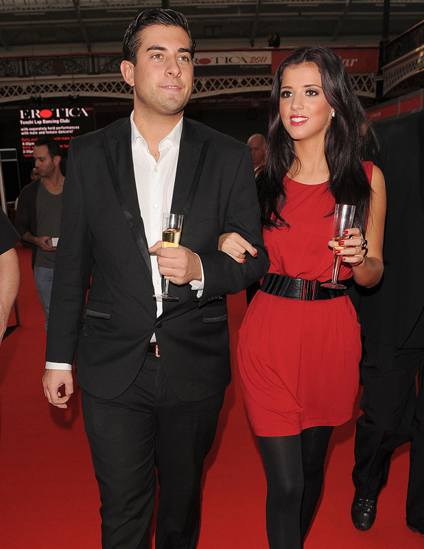 'The Only Way is Essex' TV stars James Argent and Lucy Mecklenburgh visit Erotica. Erotica 2011, held at Kensington Olympia. London, England - 20.11.11