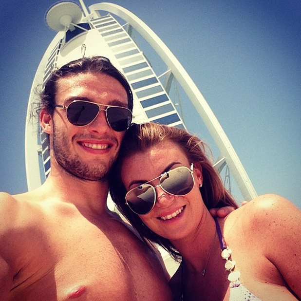 Billi Mucklow and Andy Carroll pose in Dubai on the first day of their holiday, 12 May 2014