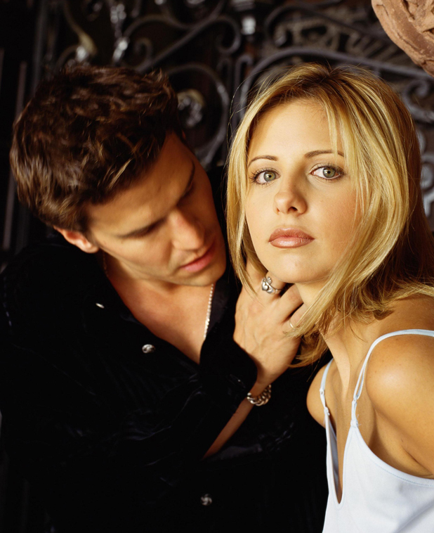 Sarah Michelle Gellar and Buffy The Vampire Slayer co-star David Boreanaz, PR photo from 1997
