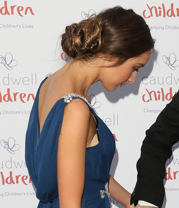 Emily MacDonagh's elaborate updo at the Caudwell Children Butterfly Ball held at The Grosvenor House Hotel in London, UK, 15 May 2014