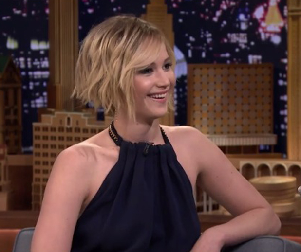 Jennifer Lawrence appearing on The Tonight Show starring Jimmy Fallon, 15 May 2014