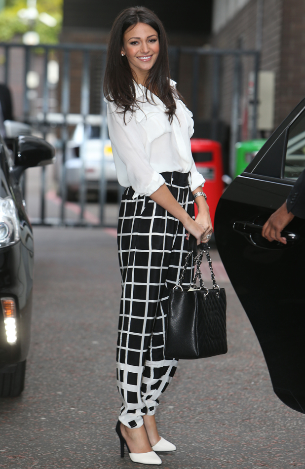 Michelle Keegan outside ITV Studios to be a judge on High Street Fashion Awards, 12 May 2014
