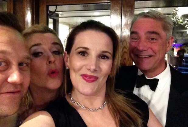 Pregnant Sam Bailey and her husband Craig get a selfie with Gogglebox's Steph and Dom Parker at the Caudwell Children Butterfly Ball 2014 held at the Grosvenor Hotel - Arrivals, London, 15 May 2014