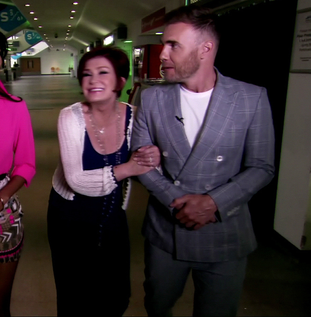 Sharon Osbourne and Gary Barlow on an episode of Xtra Factor, ITV, September 2013