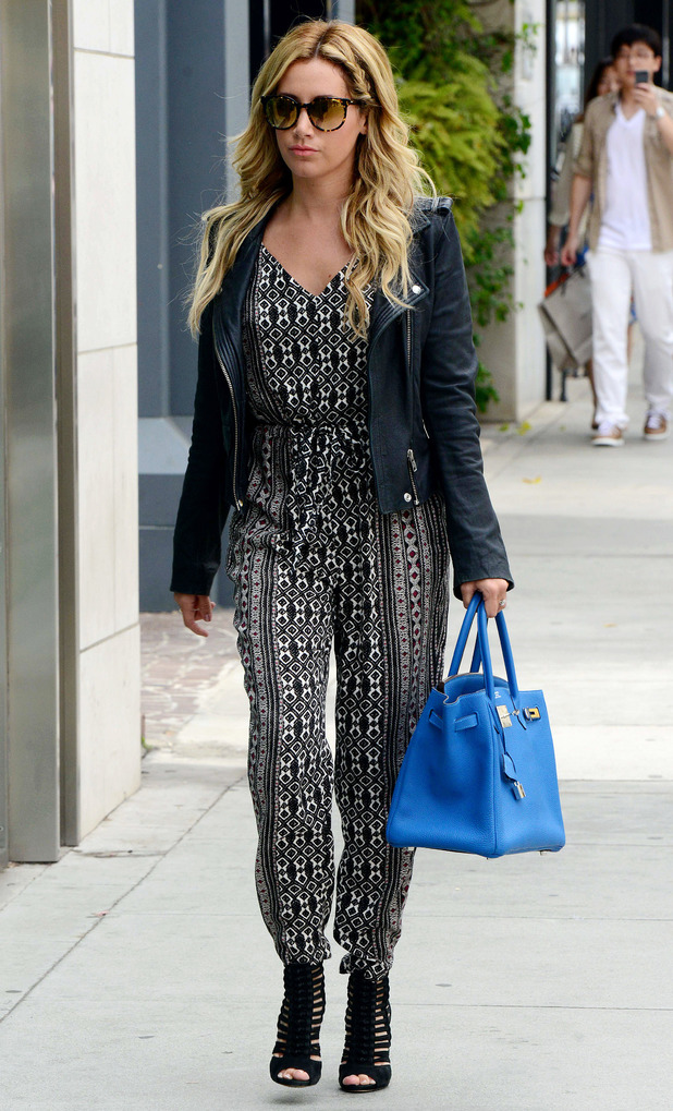 Ashley Tisdale wears a jumpsuit and heels while out in Beverly Hills, Los Angeles, America - 22 May 2014