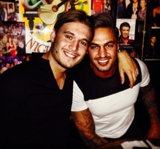 TOWIE's Charlie Sims poses for photo with best mate Mario Falcone (3 April).