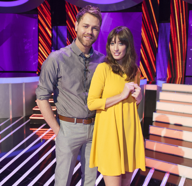 Hosts Brian McFadden and Laura Jackson Stand By Your Man, Channel 5 April 2014Reveal use only