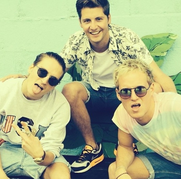 Made In Chelsea's Stevie Johnson, Oliver Proudlock and Jamie Laing at the lido (25 April 2014).