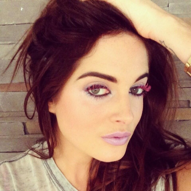 Made In Chelsea's Binky Felstead wears pink mascara and pastel purple lipstick - 21 May 2014