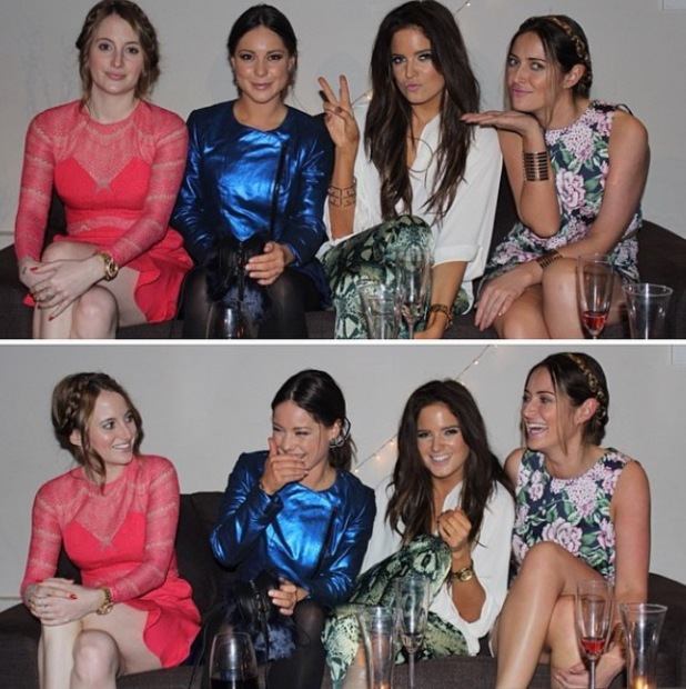 Made In Chelsea's Binky Felstead, Louise Thompson, Rosie Fortescue and Fran Newman-Young enjoy girls night in (9 May 2014).