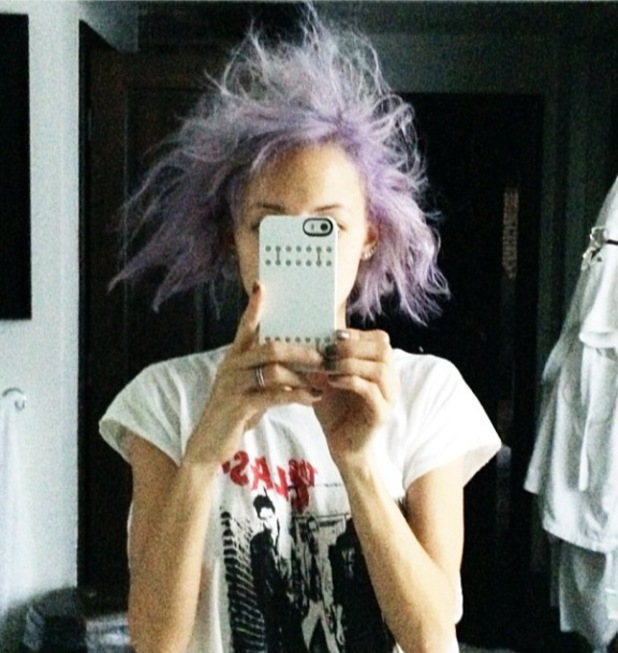 Nicole Richie shows off her purple bed head hair in funny selfie - 19 May 2014